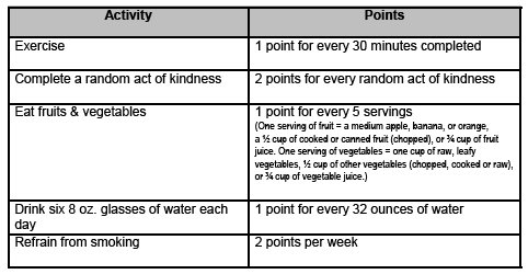 Earn points for healthy activities!