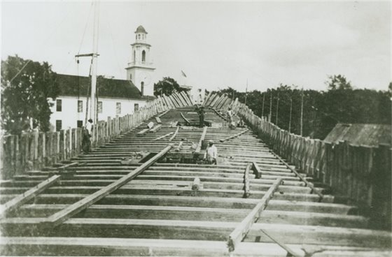 Construction of ship's deck on the Kennebunk River