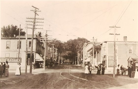 Trolley track through Main Street, circa 1910
