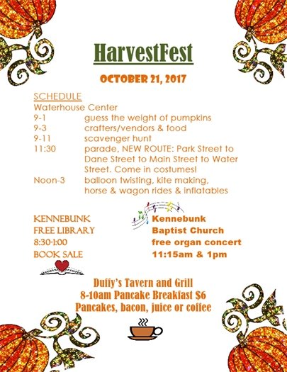 Schedule of Events, HarvestFest 2017