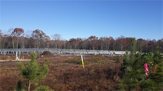 A section of the 4 Megawatt Solar Array under construction in West Kennebunk