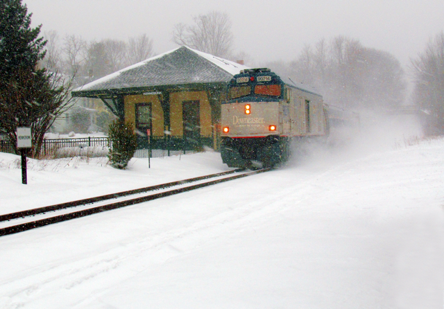 Train station in snow storm