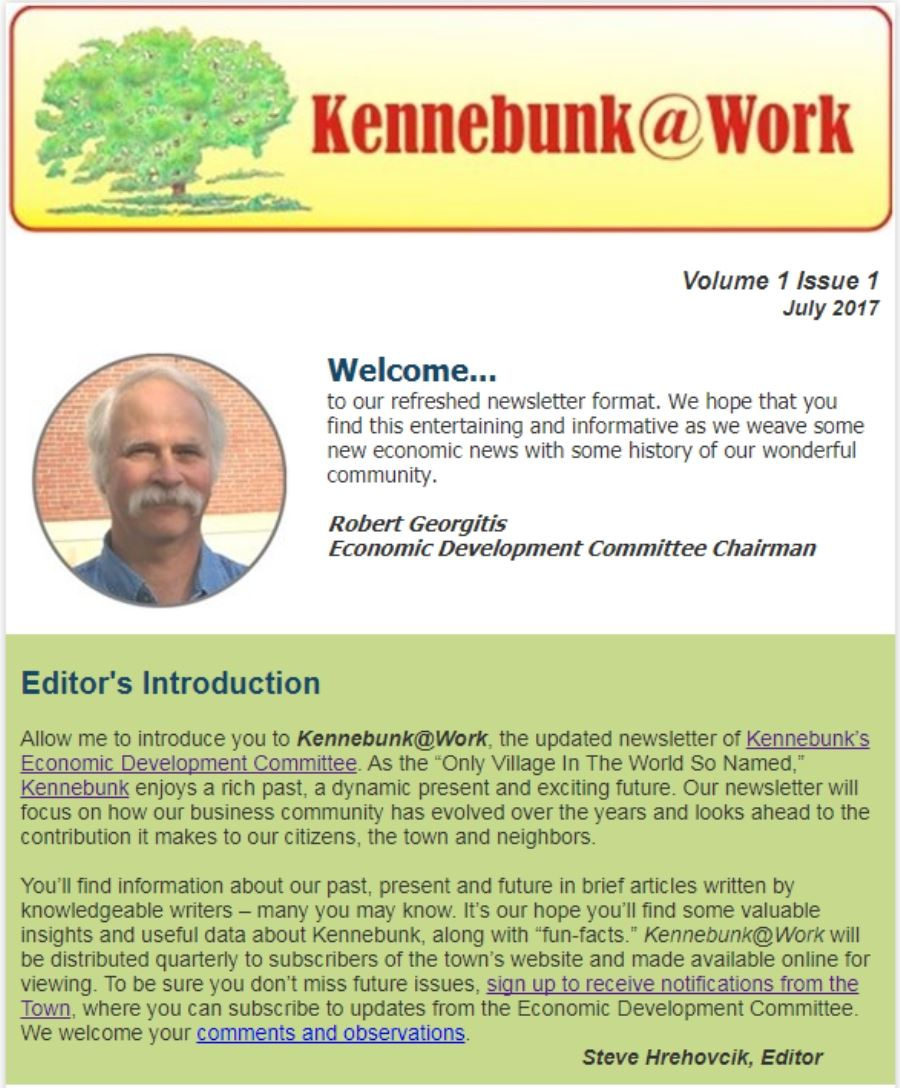 Volume 1, Issue 1, Kennebunk At Work Newsletter (PDF)
