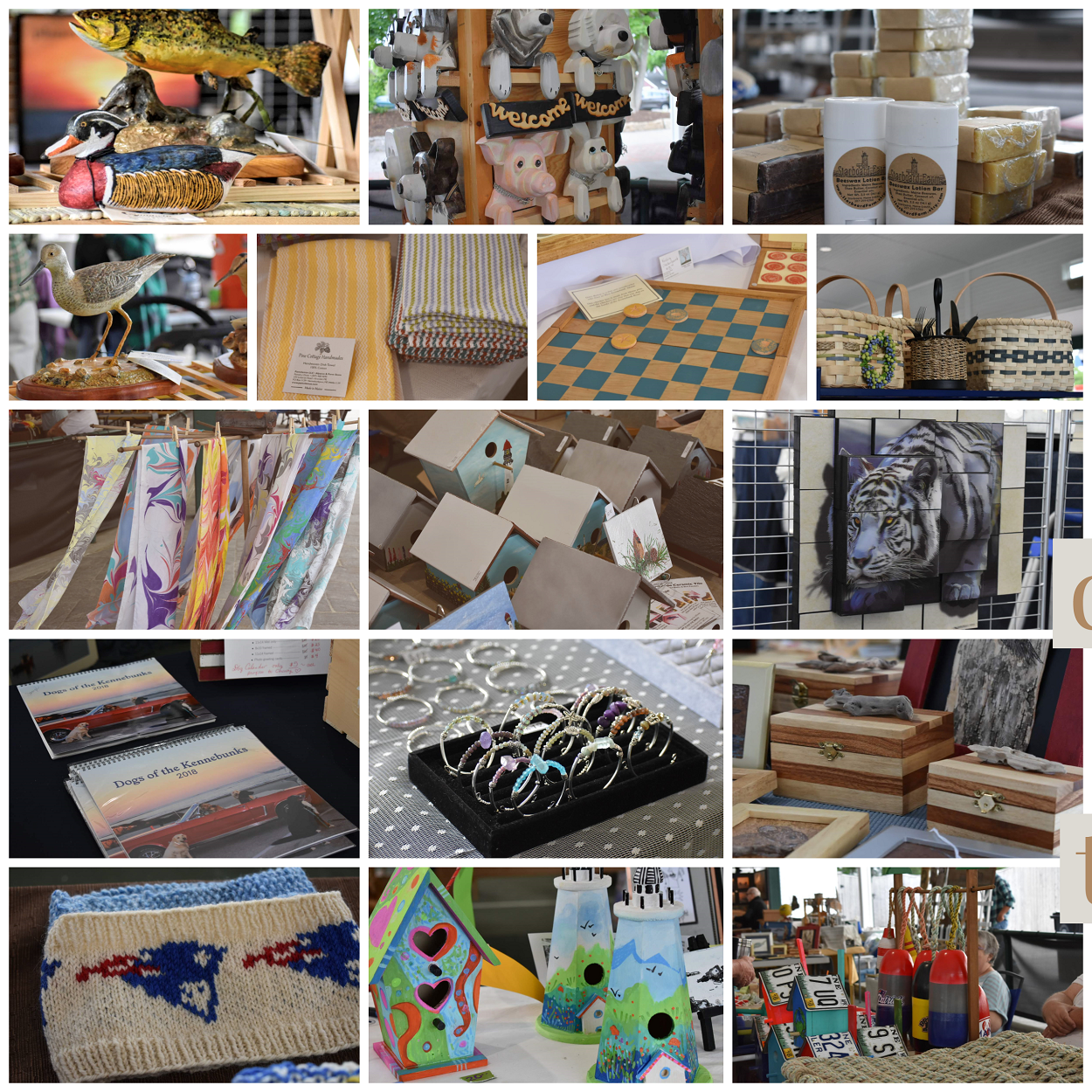 Collage of products at market