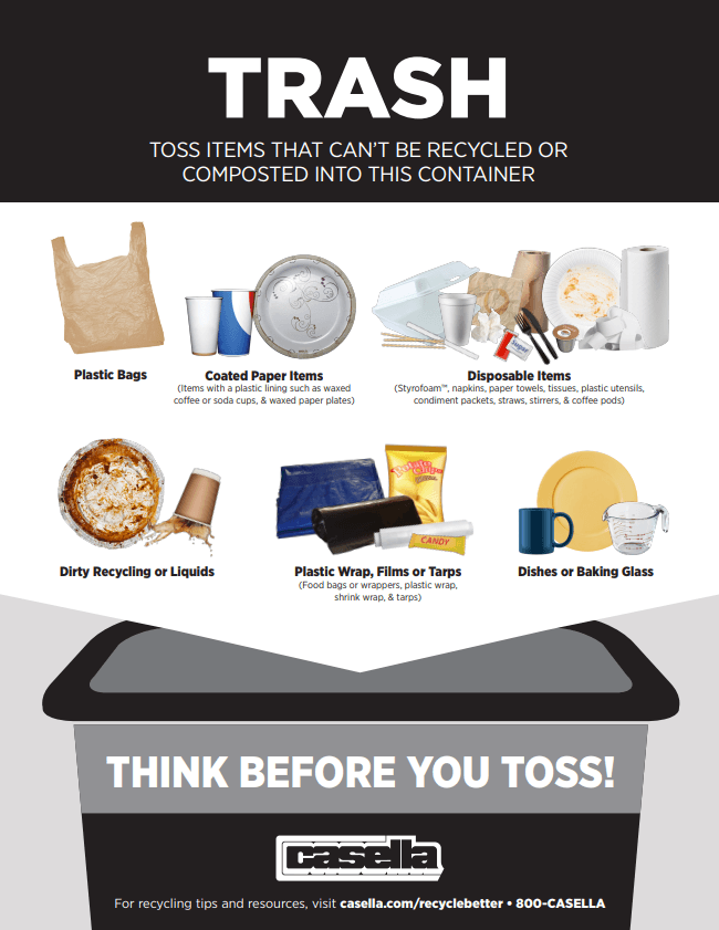 Toss items that cannot be recycled into your trash container